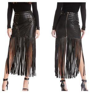 Marciano Faux Leather Fringe Skirt Black Gold 2